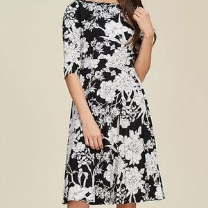 Black and white floral knee length dress